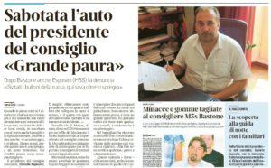 """Cgil Livorno, solidarietà al presidente del consiglio comunale Daniele Esposito: """"Massima vicinanza, atto vile e vigliacco"""""""
