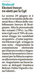 Rosignano, elezioni rsu Inovyn: alla Filctem 3 delegati su 4. Buon lavoro a Belcari, Vignoli e Valenti