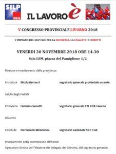 Silp-Cgil Livorno, V Congresso provinciale: venerdì 30 novembre ore 14.30 presso la sala Lem