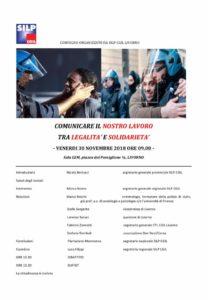 """30 novembre ore 9, sala Lem: """"Comunicare il nostro lavoro tra legalità e solidarietà"""". Il convegno organizzato da Silp-Cgil Livorno"""