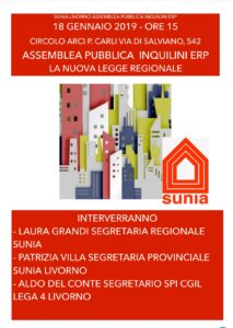Sunia Livorno, 18 gennaio ore 15 assemblea pubblica inquilini Erp: la nuova legge regionale