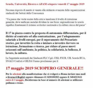 Scuola, università, ricerca e Afam: il prossimo 17 maggio sciopero generale. Al via le adesioni