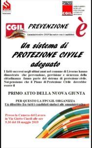 """""""Prevenzione è: un adeguato sistema di Protezione civile"""". Sabato 18 maggio la Fp-Cgil incontra i candidati a sindaco di Livorno."""