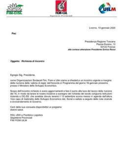 RICHIESTA DI INCONTRO URGENTE AL GOVERNATORE ROSSI A MARGINE DELLA RIUNIONE AL MISE