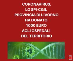 CORONAVIRUS, LO SPI-CGIL HA DONATO MILLE EURO AGLI OSPEDALI DEL TERRITORIO