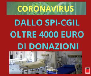 CORONAVIRUS, DALLO SPI-CGIL OLTRE 4MILA EURO DI DONAZIONI