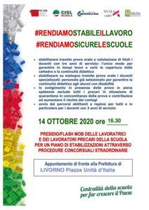 MERCOLEDI' 14 OTTOBRE, ORE 16.30, LIVORNO: PRESIDIO/FLASH-MOB DELLE LAVORATRICI E DEI LAVORATORI PRECARI DELLA SCUOLA