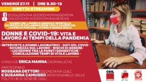 DONNE E COVID-19: VITA E LAVORO AI TEMPI DELLA PANDEMIA. VENERDI' 27 NOVEMBRE DIRETTA STREAMING