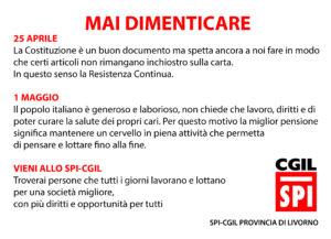 """25 APRILE, SPI-CGIL PROVINCIA DI LIVORNO: """"MAI DIMENTICARE"""""""