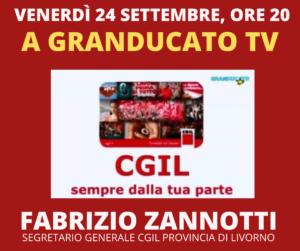 VENERDÌ 24 SETTEMBRE, ORE 20: A GRANDUCATO TV FABRIZIO ZANNOTTI