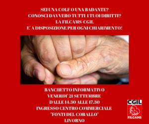 Filcams Livorno, venerdì 21 settembre presidio informativo su Cassa Colf e Fondi pensione presso ingresso Fonti del Corallo