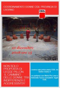 """Coordinamento donne Cgil provincia di Livorno, 10 dicembre iniziativa su legge Pillon: """"Il cammino delle donne tra indifferenza e aggressività""""."""