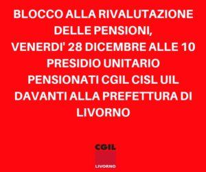 Blocco della rivalutazione delle pensioni, 28 dicembre presidio unitario pensionati Cgil Cisl Uil davanti alla Prefettura di Livorno