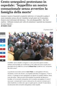Livorno, morte senegalese in ospedale: l'intervento di Patrizia Villa e del Dipartimento immigrazione Cgil provincia di Livorno
