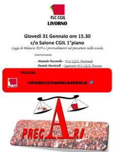 Precari della scuola, incontro pubblico giovedí 31 gennaio alle ore 15.30 presso la sede Cgil di Livorno