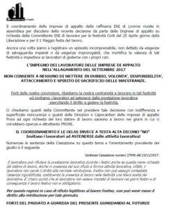 Primo maggio, imprese d'appalto raffineria Eni di Livorno al lavoro: presidio di protesta
