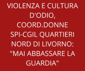 """VIOLENZA E CULTURA D'ODIO, COORDINAMENTO DONNE SPI-CGIL QUARTIERI NORD DI LIVORNO: """"MAI ABBASSARE LA GUARDIA"""""""