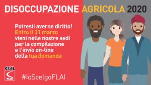 ➡️ DISOCCUPAZIONE AGRICOLA 2020, POTRESTI AVERNE DIRITTO! CONTATTA LA FLAI-CGIL!