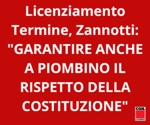 """LICENZIAMENTO DI TERMINE, ZANNOTTI: """"GARANTIRE ANCHE A PIOMBINO IL RISPETTO DELLA COSTITUZIONE: INTERVENGANO MINISTRO E PARLAMENTO"""""""