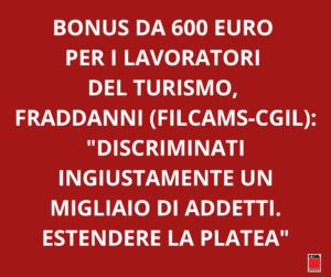 """BONUS DA 600 EURO PER I LAVORATORI DEL TURISMO, FILCAMS: """" UN MIGLIAIO DI ADDETTI INGIUSTAMENTE DISCRIMINATI: SI ESTENDA LA PLATEA"""""""
