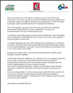 CASSA INTEGRAZIONE COVID-19 IN TUTTE LE PRINCIPALI AZIENDE METALMECCANICHE DEL COMPRENSORIO PIOMBINESE