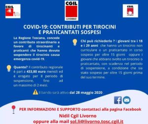➡️ COVID-19, CONTRIBUTI PER TIROCINI E PRATICANTATI SOSPESI: PER INFORMAZIONI CONTATTA IL NIDIL-CGIL LIVORNO!
