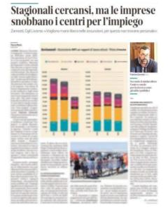 """""""STAGIONALI CERCANSI, MA LE IMPRESE SNOBBANO I CENTRI PER L'IMPIEGO"""". LE DICHIARAZIONI SUL TIRRENO DI FABRIZIO ZANNOTTI"""